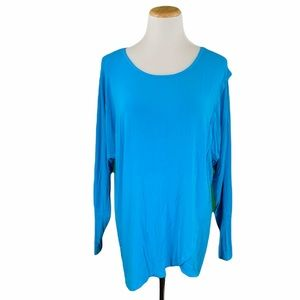 Chelsea & Theodore Blue Wrap Front Long Sleeve Tee
